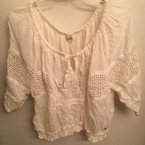 Abercrombie Cream Crochet Top with Tassels